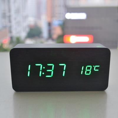 Livraison gratuite véritable horloge en bois LED voix lumineuse muet électronique température réveil cadeaux créatifs - 1
