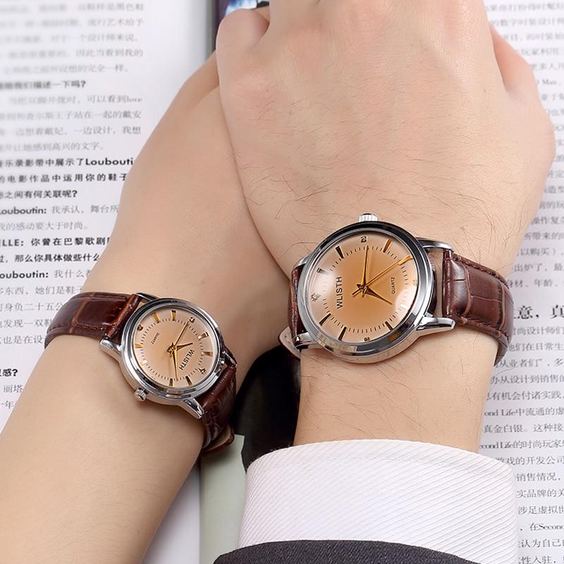 WLISTH Luxury Brand Couple Design Leather Belt Men Women Ladies 30 Metets Waterproof High-end Gold Shell Case Student Pair Watch