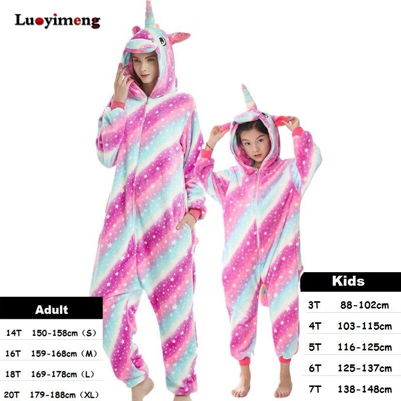 Kids Unicorn Pijama Adult Winter Pyjama Sleepwear For Women Boys Cartoon Homewear Onesie Kigurumi Pajamas Set Baby Girls Clothes in Pajama Sets from Mother Kids
