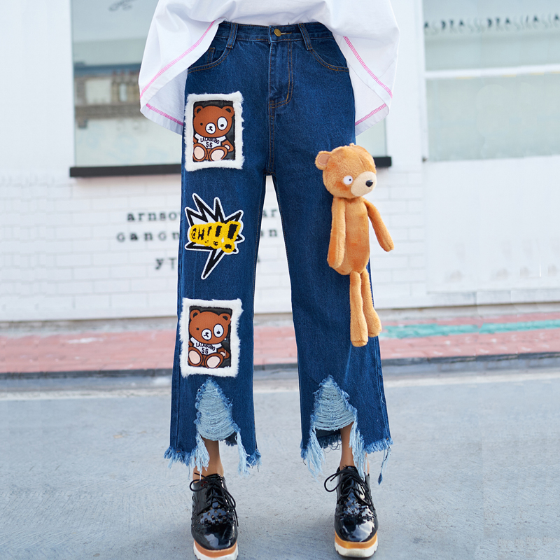 ФОТО 2017 new wide leg jeans female students relaxed thin Thailand brand Street personality burr hole pants