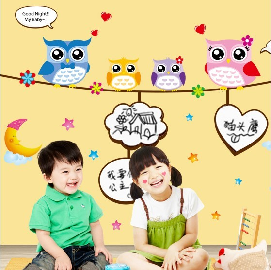 Wall stickers sanguan child real blackboard stickers heart doodle message posted owl