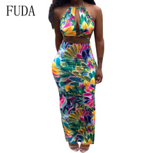 цена на FUDA Explosive Bohemian Print Two Pieces Sets Backless Bodycon Halter Dress Women Sexy Sleeveless Floral Vintage Summer Dresses