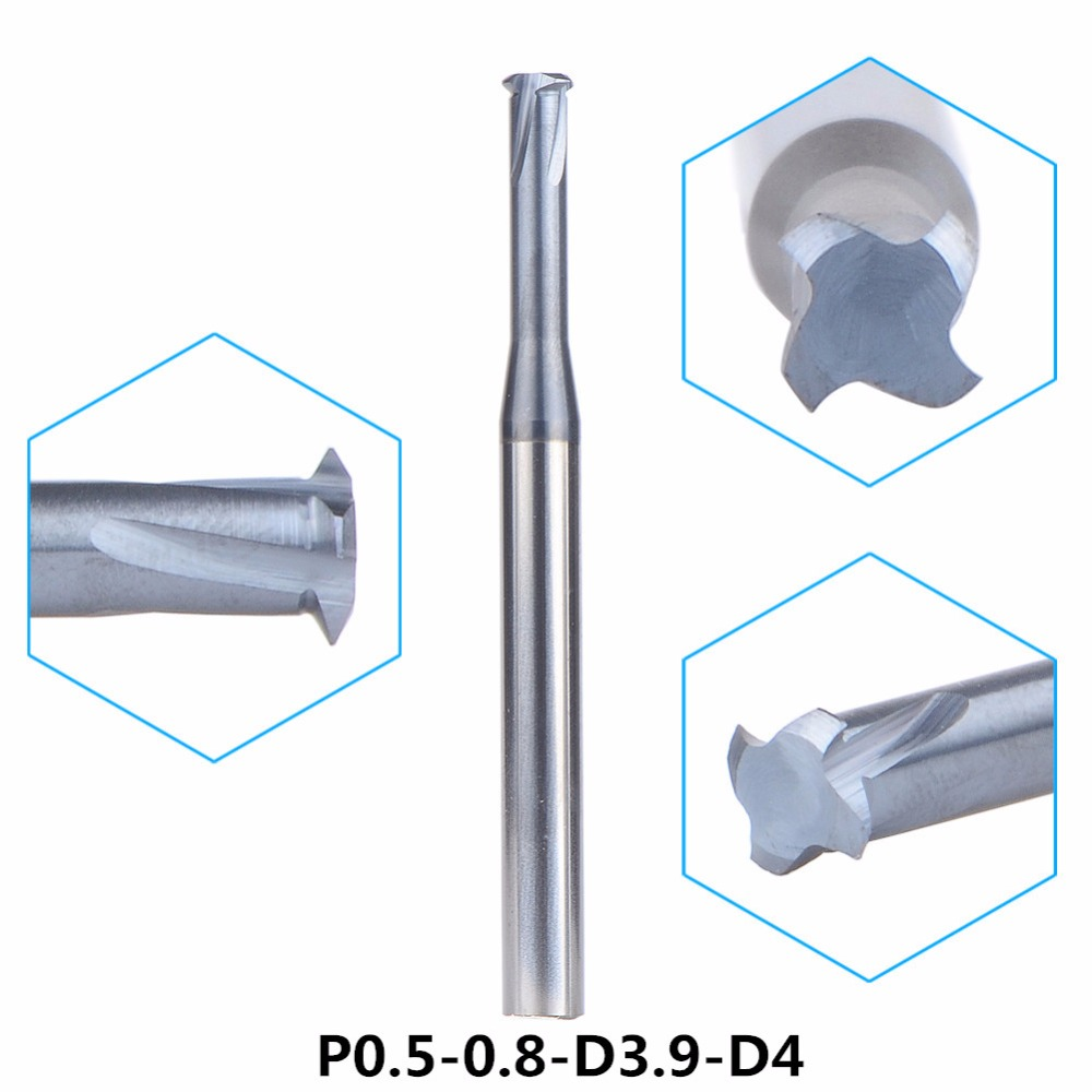 Tungsten Carbide Alloy Single Teeth Metric Thread Milling Cutter 1pc-P0.5-0.8-D3.9-D4 Threading Single Tooth End Mill