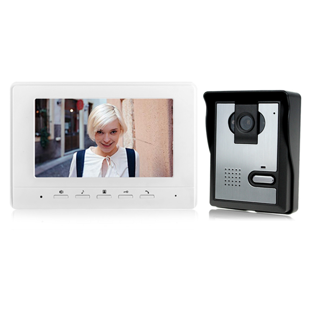 7'' TFT-LCD color video door phone intercom doorbell with IR COMS outdoor camera night vision for access control system 7inch video door phone intercom system for 5apartment tft lcd screen 5 flat indoor monitor with night vision cmos outdoor camera