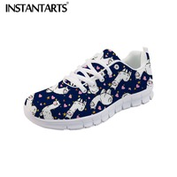 INSTANTARTS Flats Spring Female Shoes Cartoon Llama Cactus 3D Pattern Shoes Women Lace Up Comfort Sneakers Mesh Zapatillas Mujer
