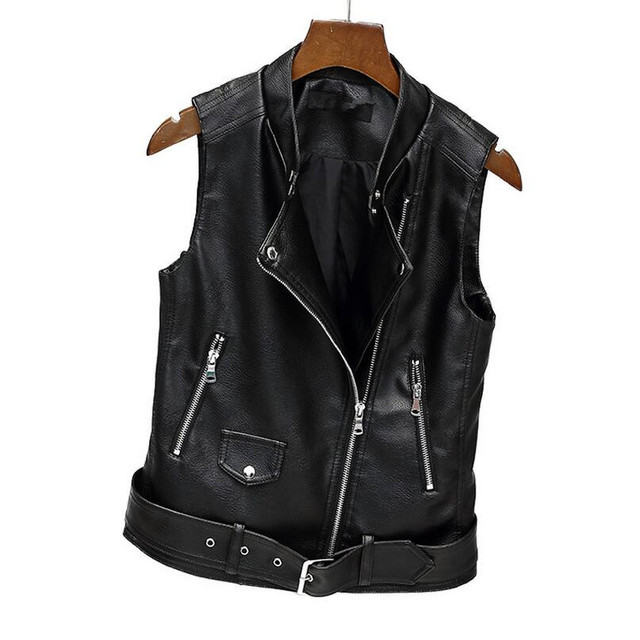 2017 new Women fashion PU Leather Vest Ladies Motorcycle Pocket vest waistcoat female WaistCoat Biker S351