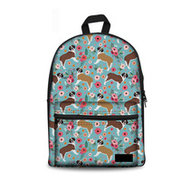Noisydesigns Children School Backpack St. Bernard Flower able Schoolbags Teenage Girls Women Cute Rucksack Student Book Bag