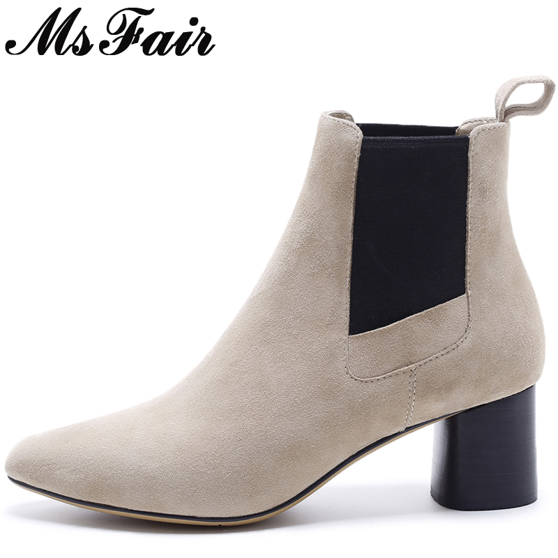 MsFair Square Toe Square heel Women Boots Genuine Leather Ladies Ankle Boot 2017 New Winter Elastic band Women's Boots Shoes fashion square toe lace up genuine leather solid nude women ankle boots thick heel brand women shoes causal motorcycles boot l74