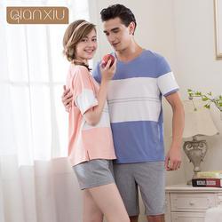 Qianxiu Pijamas пара короткие Повседневное О-образным вырезом из 95% хлопка для Для мужчин удобные Для мужчин пижамные комплекты