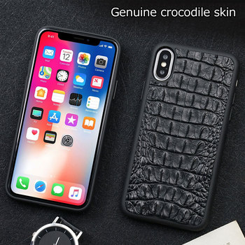 Case For iphone 7 6 6s 7plus 11 pro max Luxury Genuine Crocodile back Leather etui For iphone X XS MAX XR Cover coque fundas