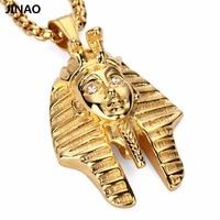 Jinao Egypt Jewelry Pharaoh Pendant Necklaces For Men Women Gold Plated Hip Hop Vintage Pendants Necklace