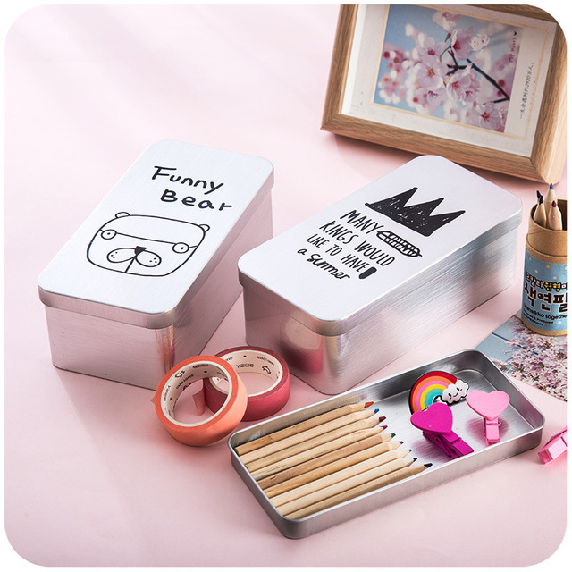 Simple Cartoon Double-layer Storage Box Metal Stationery Boxes for Girls and Boys Creative Desktop  sc 1 st  AliExpress.com & Simple Cartoon Double layer Storage Box Metal Stationery Boxes for ...