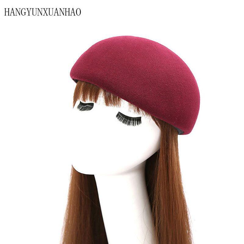 HANYUNXUANHAO Women And Men Felt Cloche Hat Fedora Autumn Winter Vintage Dome Fedoras Unisex Bowler Hats Round Caps