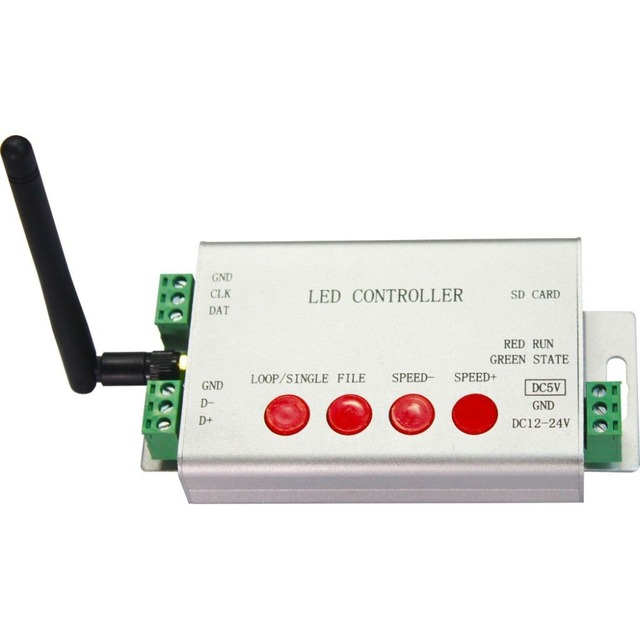 led wifi controller,1 port control 2048 pixels,DMX512 controller,support WS2812,DMX512,etc.Support android phone iphone via WLAN
