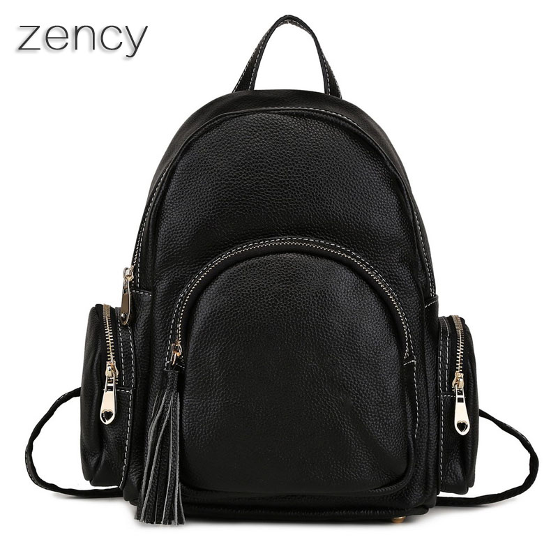 ZENCY Backpack Soft Genuine Leather Women's Backpacks Ladies Young Girl's Bags Top Layer Cowhide School Bag Mochila