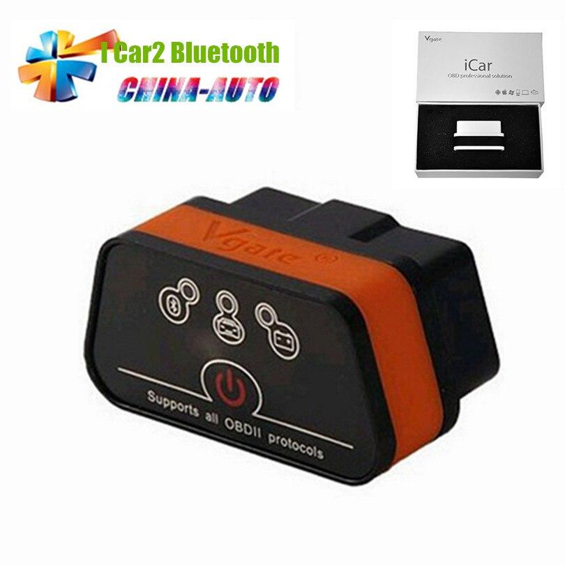 Prix pour Vgate iCar2 icar 2 Bluetooth ELM327 OBD2 Scanner Pour Android Lecteur de Code Outil De Diagnostic Icar OBD Scanner 6 Couleur