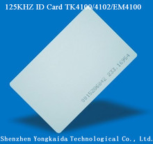 5000pcs/lot 125KHz TK4100/EM4100 blank PVC smart card RFID Card printable for Entry access system