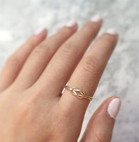 Double Knot Ring Handmade 14K Rose Gold Filling Sterling Silver Adjustable Reversible Infinity Wire Love Jewelry