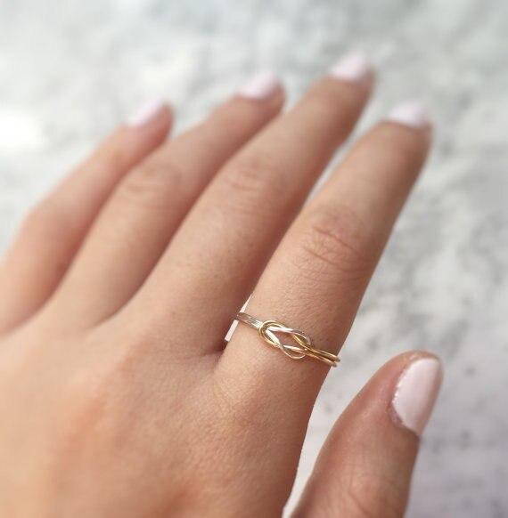 PINJEAS Doppel Knoten Ring Handgemachte Rosafarbene Füllung ...