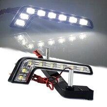 2 шт. автомобиля 8 LED 5050 Белый Ксеноновые вождения Туман лампы ДРЛ дневного огни DC 12 В для VW гольф 4 5 6 7 MK3 MK4 MK5 MK7 GTI