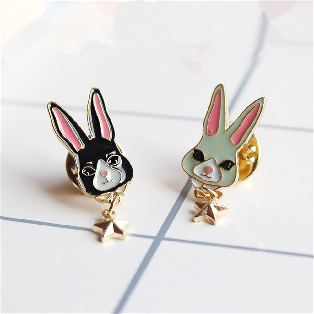 2017 Japanese style playful lovely drops glaze rabbit brooch female sex stars Corsage Factory direct sale pin ...