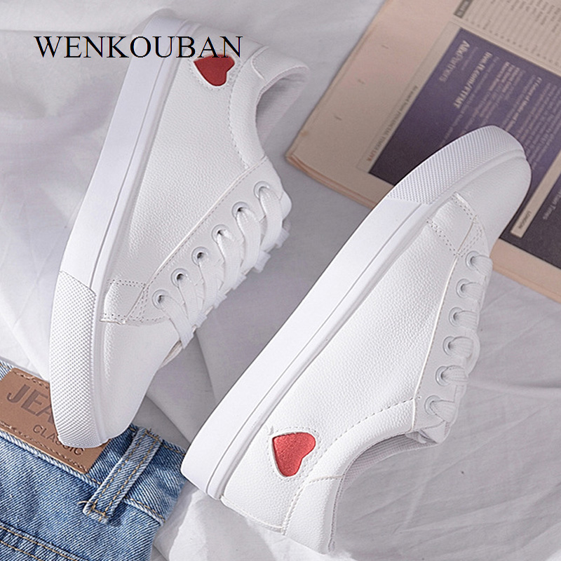 Summer Women Sneakers White Pu Leather Vulcanized Shoes Casual Ladies Trainers Lace-Up Flats Fashion Sneakers Tenis Feminino