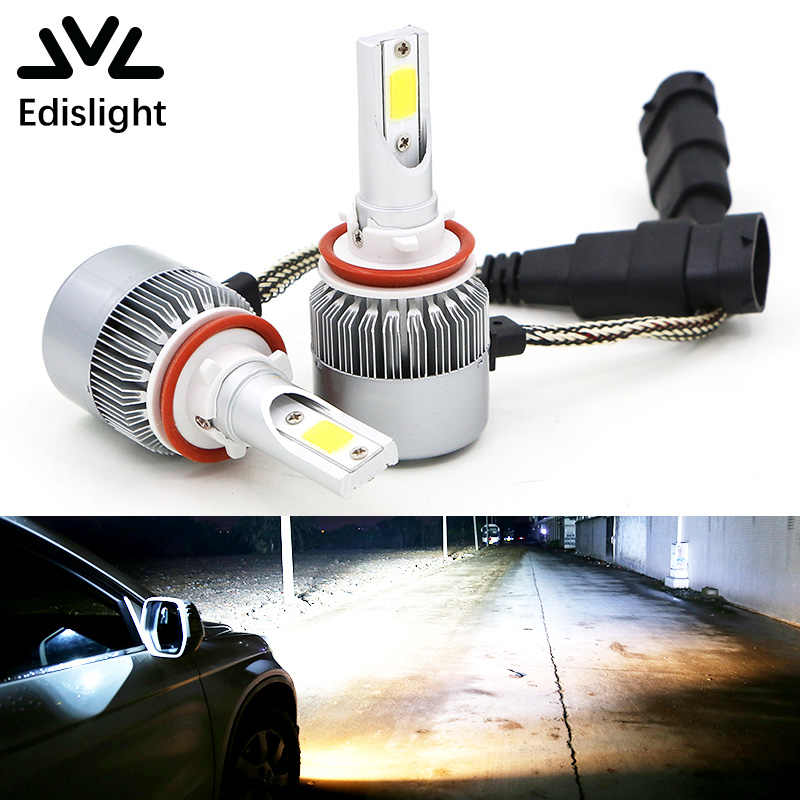 Edislight H4 H7 H11 H13 H1 H3 9004 9005 9006 9007 COB LED Car Headlight Bulb Hi-Lo Beam 72W 7600LM Auto Headlamp Fog Light 12V