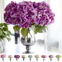 Hot Selling Artificial Hydrangea Flower 5 Big Heads Flowers Bride Bouquet Wedding Flower Multicolor Colors Avaliable