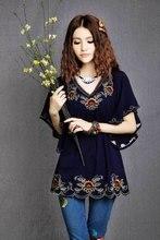 2016 Новые Моды для Женщин Дешевые Плюс Размер Одежды Vintage Хиппи Boho Этнические Шаблон Тотем Вышитые Блузки Blusas Бесплатная Доставка(China (Mainland))