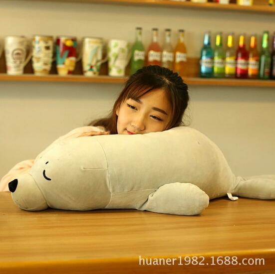 Cadeau d'oreiller en peluche de lions de mer super doux élastique de 80 cm pour noël