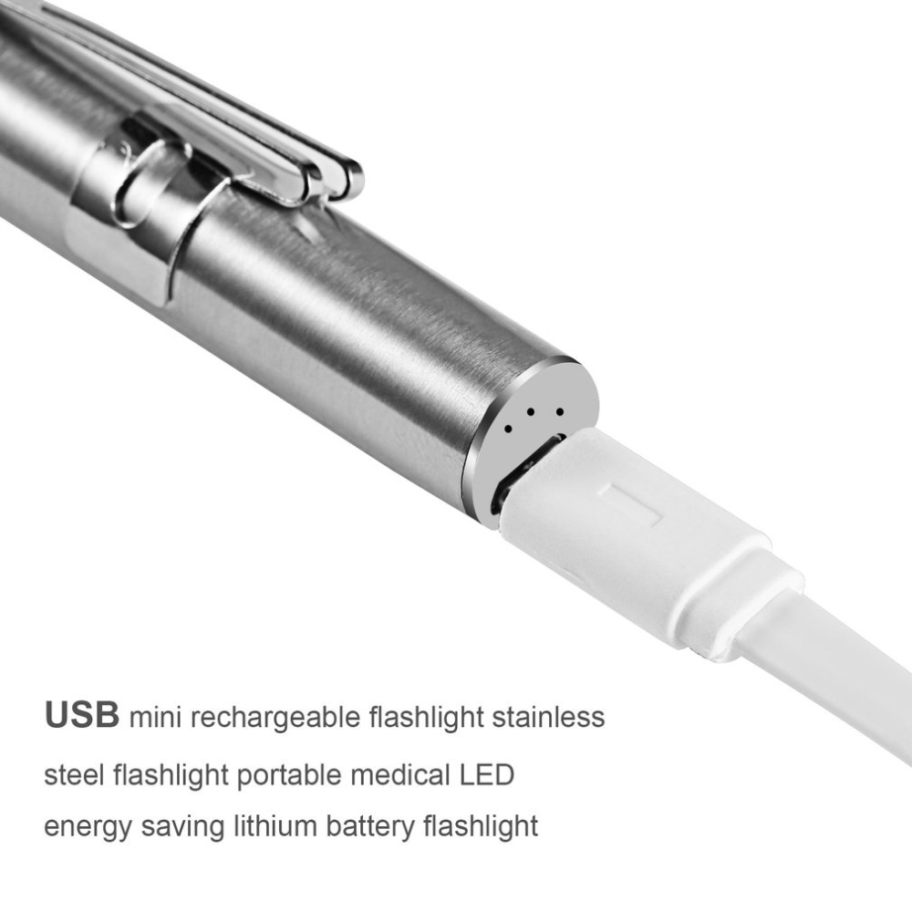 ICOCO Medical Handy Portable Pen Light USB Rechargeable Mini Energy-saving Flashlight LED Torch with Stainless Steel Clip