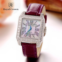 Royal Crown Luxury Jewelry Lady Women's Watch Fashion Crystal Hours Dress Leather Bracelet Rhinestone Girl Birthday Gift Box