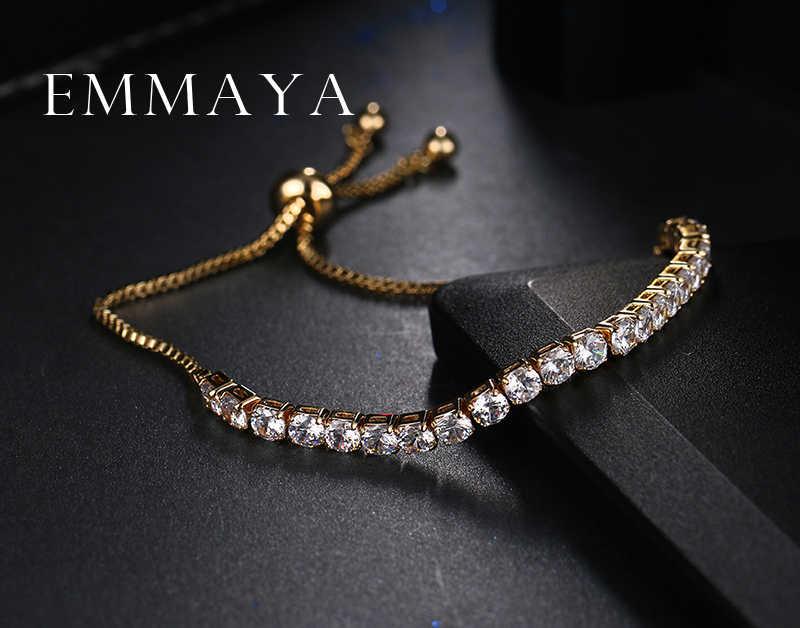 Emmaya Classic Bling Kristal Manik-manik Gelang Persahabatan Putih Zircon Adjustable Gelang untuk Wanita Beaded Gelang Murah