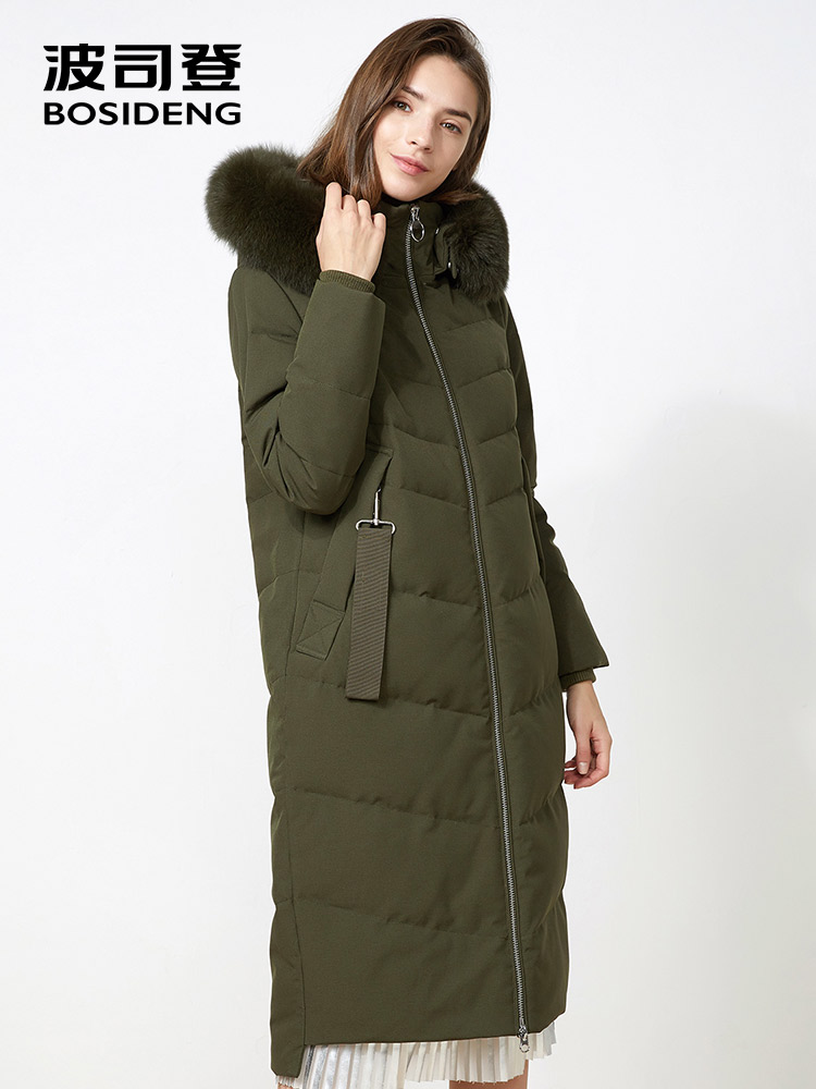 BOSIDENG winter women down coat X Long down jacket hooded natural fur collar thicken outwear warm