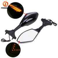 POSSBAY 1 Pair Carbon 6MM Motorcycle LED Turn Signal Light Rearview Mirrors for Honda Kawasaki Suzuki Yamaha Side Mirror