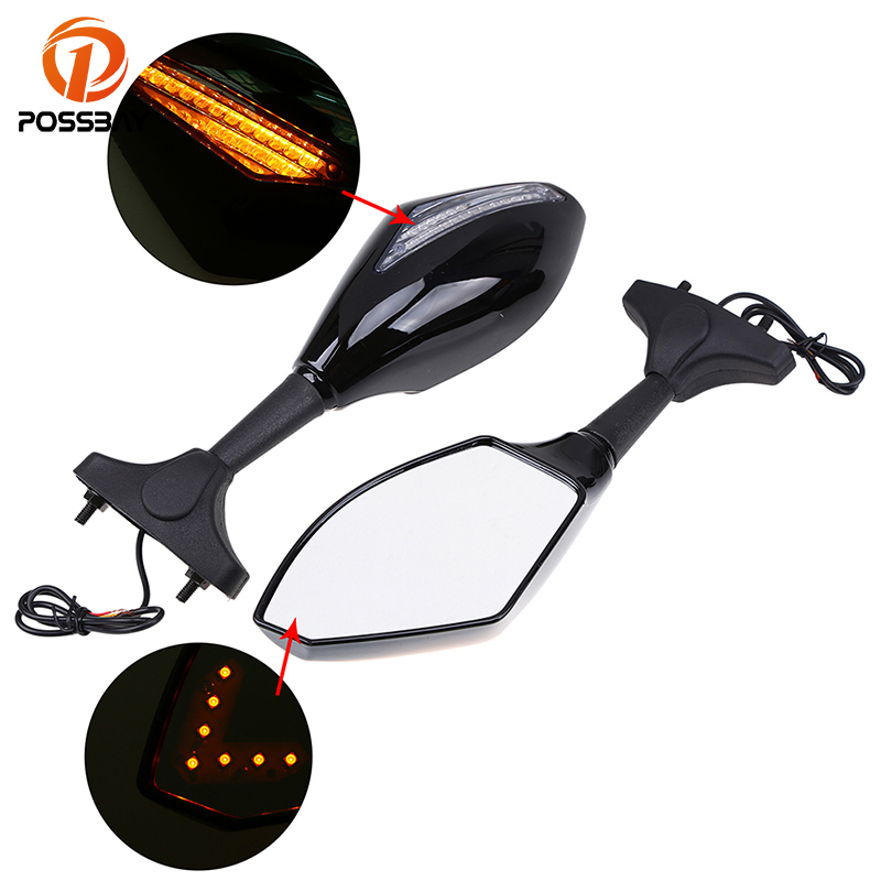POSSBAY Black Carbon Motorcycle Mirrors with Turn Signal Light Accessories for Honda Suzuki Yamaha Side Rearview Mirror