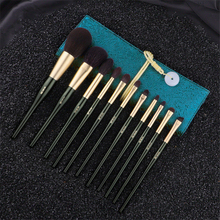 Make up Brushes 11Pcs Set Dark Green Goat Squirrel Hair Powder Blush Highlighter Brush Eyeshadow Blending Makeup Brush with Bag classic makeup brush m series natural goat hair tapered eyeshadow blending eye contour sweep smudge nose highlighter brush