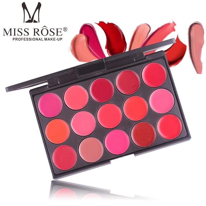 Miss Rose 15 Colors Matte Lipstick Palette Waterproof Nutritious Lips Makeup Long Lasting Brand Lipstick for Beauty Women gift
