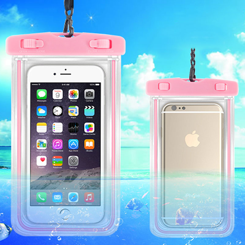 Universal Waterproof Phone Bag Dry Touch Pouch with Luminous Edge 5.5 inch for iphone 6 6s 7 plus Beach Underwater Swimming Pool