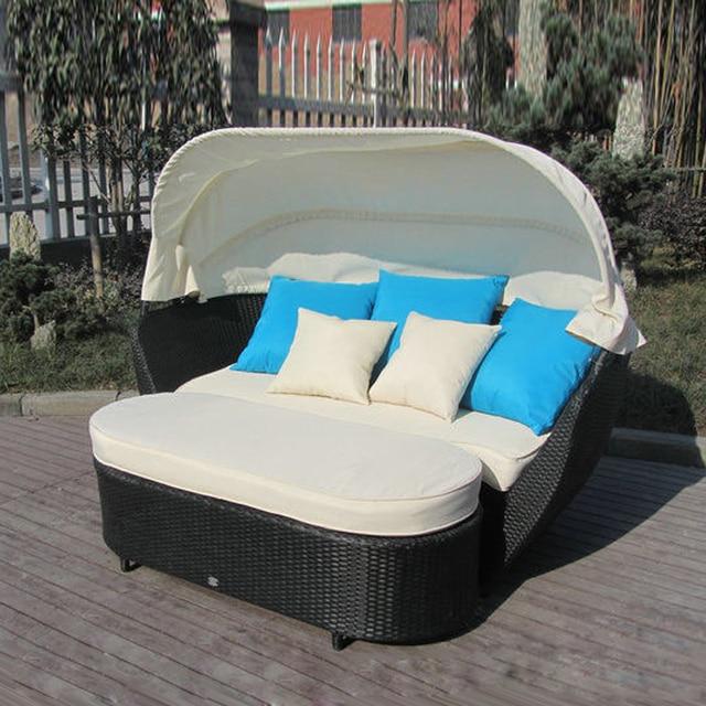 Luxus Outdoor Rattan Schlafcouch Mit Baldachin Outdoor Möbel Sun Lougner  Für Terrasse Transport Durch Meer