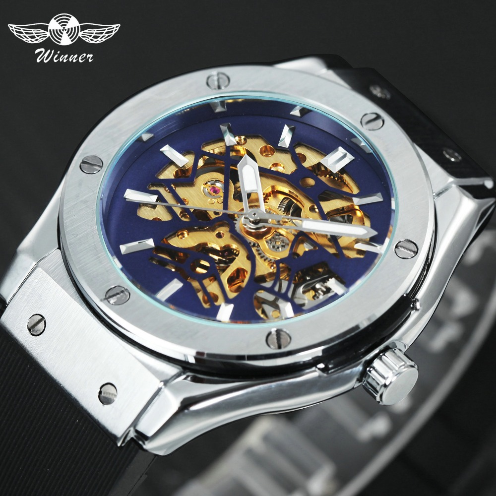 Skeleton Bird Dial Auto Mechanical Silicone Strap Sport