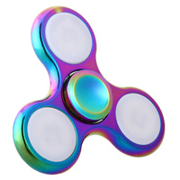 Rainbow ALL Metal Tri Spinner Fidgets Toy Plastic EDC Sensory Fidget Spinner Funny Anti Stress Toys