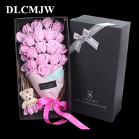 23pcs Bouquet Soap Rose Flower Gift Box Romantic Valentine's Gift Wedding Decoration Flower Bathroom Soap Flower