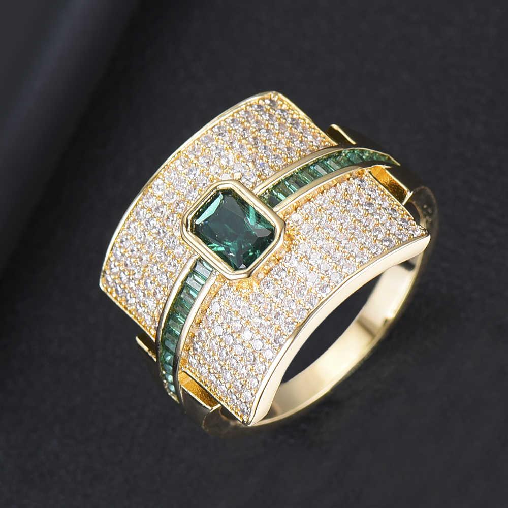 GODKI เรขาคณิตหรูหรา Statement Stackable แหวนสำหรับผู้หญิงงานแต่งงาน Cubic Zircon หมั้นดูไบทองเจ้าสาว Choker แหวน