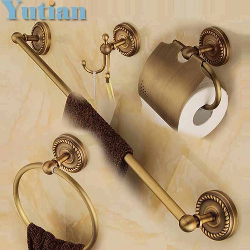 Free shipping,solid brass Bathroom Accessories Set,Robe hook,Paper Holder,Towel Bar,Soap basket,bathroom sets,YT-12200-A  free shipping solid brass bathroom accessories set robe hook paper holder towel bar bathroom sets antique brass finish yt 12200