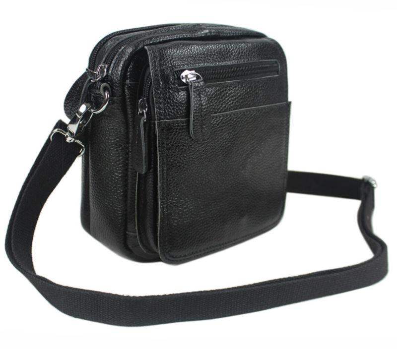 Fashion 100% Natural Genuine Leather Men s messenger Bags Leather Shoulder  bag for man Crossbody Bag small Casual Bag Black 6ac1a4eec4da8