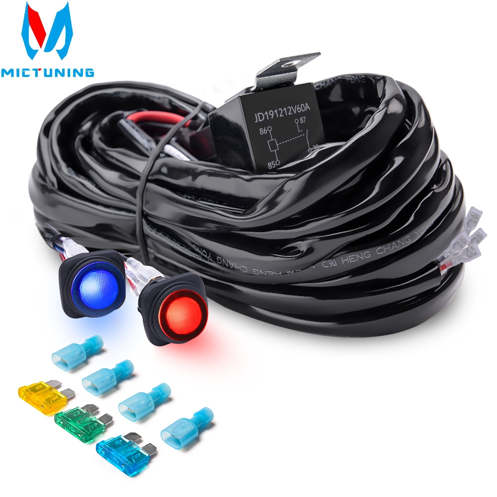 MICTUNING Heavy Duty 14WAG 300W 2-Circuit Led Light Bar Wiring Harness Kit Fuse 40Amp Relay DUAL Waterproof Switches Red Blue