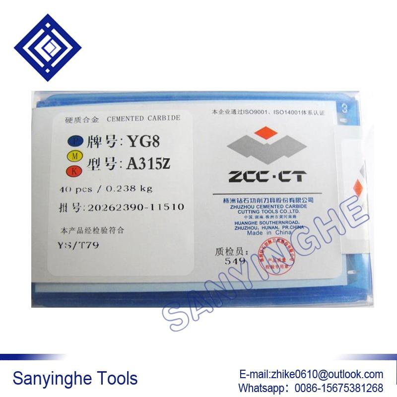 YG8 A315Z lutowane płytki węglikowe Sanyinghe Nudne narzędzia 40 sztuk / partii wykończenie toczenia z diamentowej marki zhuzhou