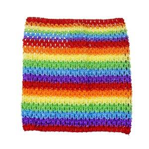 Вязаный топ-труба 9x10 дюймов, топ-пачка для маленьких девочек, вязаная юбка-американка топ-пачка, вязаная крючком повязка на голову, смешанные цвета, 10 шт. в партии - Цвет: Rainbow 10pcs