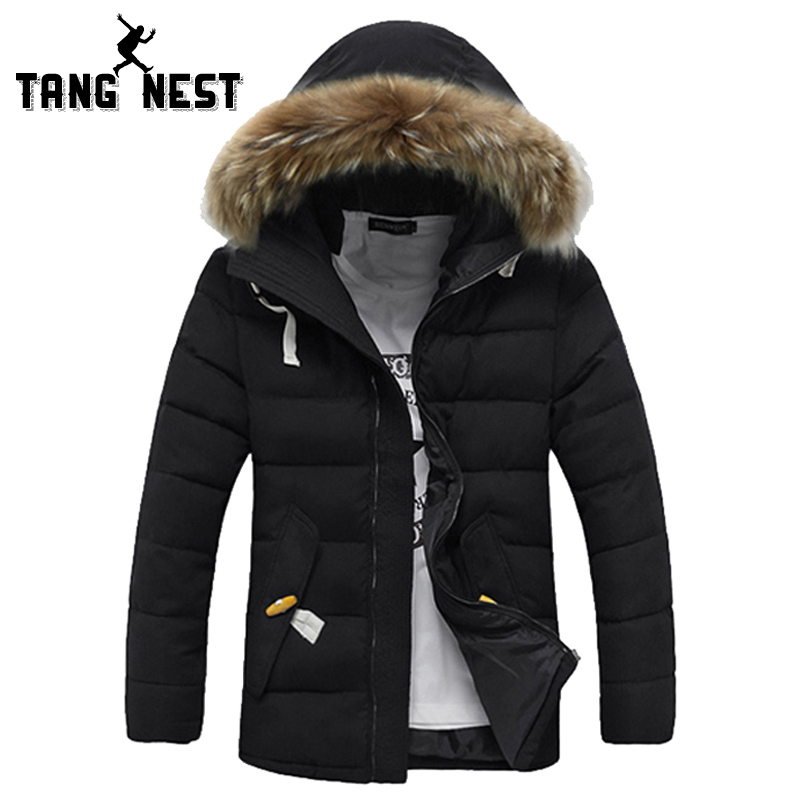 ФОТО TANGNEST New Winter Warm 2017 Man Casual Comfortable Fashion Solid Long Winter Coat Jacket Three Colors M-XXL Wholesale MWM555